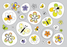 Design with flowers painted Stock Photos