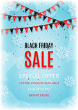 Design of the flyer of Black Friday sale with snow vector illustration Stock Image