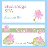 Design flyer card with flowers lotus Stock Images