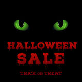 Design of the flyer with halloween sale inscription on black background. Royalty Free Stock Photography