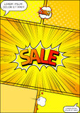 Design of the flyer pop art comic sale discount promotion vector illustration Stock Images