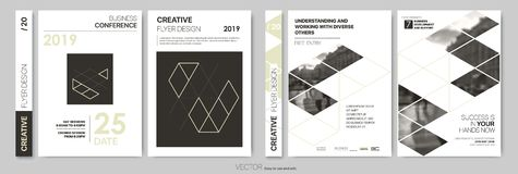 Design Flyers. Minimalistic abstract templates - stock. Design Flyers Annual report Cover book Vector template brochures Layout, Presentations Leaflet Magazine stock illustration