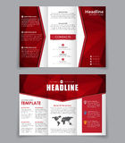 Design folding brochure with red polygonal elements. Royalty Free Stock Photography