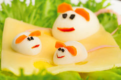 Design of food for children. eggs. In the shape of a mouse stock photo