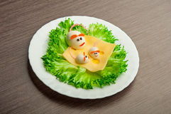 Design of food for children. eggs in the shape of mouse Stock Image