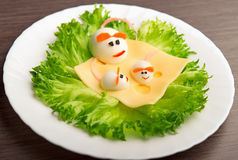 Design of food for children. eggs in the shape of mouse Stock Photos