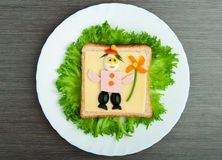 Design food. Creative sandwich for child Royalty Free Stock Images