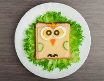 Free Design Food. Creative Sandwich For Child With Picture Little Ow Stock Photos - 28707723