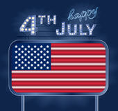 Design for fourth of July Independence Day USA. A neon American flag inside of shining retro light banner. Realistic Stock Images