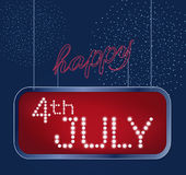 Design for fourth of July Independence Day USA. A neon American flag inside of shining retro light banner. Realistic Royalty Free Stock Photos