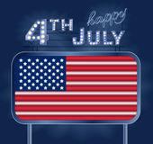 Design for fourth of July Independence Day USA. A neon American flag inside of shining retro light banner. Realistic Stock Image
