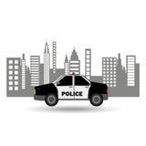 Design för bakgrund för stad för polisbil Arkivbild