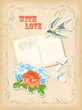 Design för förälskelse för kort för tappningurklippsbokbeståndsdel retro Arkivbilder