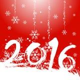 Design för jul 2016 med röd bakgrund Royaltyfri Bild