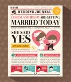 Design för kort för inbjudan för tecknad filmtidningsbröllop Royaltyfri Foto