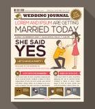 Design för kort för inbjudan för tecknad filmtidningsbröllop Arkivfoton