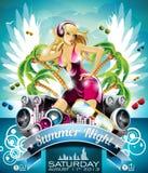 Design för reklamblad för parti för vektorsommarstrand med den sexiga flickan och högtalare på molnbakgrund. Royaltyfria Foton