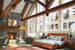 Design för sovrum för lyxig öppen golvkabin inre Royaltyfri Foto