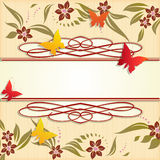Design  frame with flowers and butterfles. Royalty Free Stock Image
