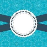 Design frame for greeting card. Blue and white vector illustration