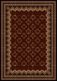 Design frame with motley ornaments in maroon and brown shades for carpet. Luxurious vintage oriental rug with original pattern in maroon and brown shades Royalty Free Stock Image
