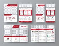 Design front and back side folding brochure, A4 flyer. And a narrow flyer with red elements design and a place for photos. Corporate style template. Vector Royalty Free Stock Photo