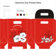 Design for gift box. Template for Gift Box with flowers Stock Photo