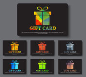 Design gift cards with abstract polygonal boxes. Design black gift card. Templates with a box and ribbon with colorful abstract elements. Vector illustration Stock Photography