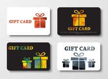 Design gift cards with abstract polygonal boxes. Set of white and black gift cards with different boxes. Patterns of gold, bronze, silver, colored polygonal Stock Images