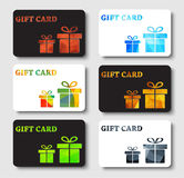 Design gift cards with abstract polygonal boxes. Set of white and black gift cards. Templates with two boxes with gold, bronze, green and blue abstract polygonal Stock Image