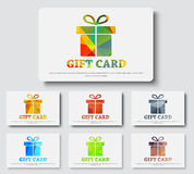 Design gift cards with abstract polygonal boxes. Design white gift card. Templates with a box and ribbon with colorful abstract elements. Vector illustration Stock Photography