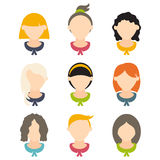 design of girls with different hairstyles. Vector illus Stock Photos