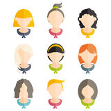 design of girls with different hairstyles. Vector illus Royalty Free Stock Images