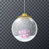 Design of glass bauble with gift inside. Crystal transparent bauble with wrapped present and snow falling inside Stock Images