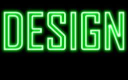Design glow neon sign green light. On blackboard stock photos
