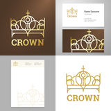 Design gold crown icon logo element with Business card Stock Images