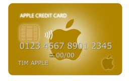 Design of a golden Apple Pay credit card royalty free illustration