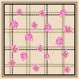PLAID POPPY FLOWER PATTERN SCARF SQUARE NEUTRALBACKGROUND. This design is good for fashion wrap, scarves, fabric, neck wear, etc Stock Photography