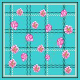 PLAID POPPY FLOWER SCARF PATTERN TURQUOISE BACKGROUN. This design is good for fashion wrap, scarves, fabric, neck wear, etc Royalty Free Stock Image