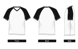 T shirt raglan Sleeve V-neck,. Design Graphic T shirt raglan Sleeve V-neck, Black White blank front, back,  images Stock Images
