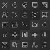 Design and graphics linear icons vector collection royalty free illustration