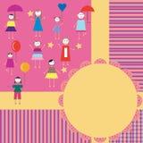 Design greeting card. Boy and girl stock illustration