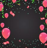 Design for greeting cards and poster with balloon, confetti, des. Ign template for birthday celebration. art Royalty Free Stock Image