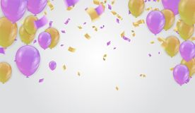 Design for greeting cards and poster with balloon, confetti, des. Ign template for birthday celebration. art Royalty Free Stock Photo