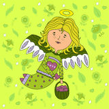 Design greeting cards for Valentines day. Design greeting cards for Valentine's day. sweet girl angel with outspread wings, with a basket of hearts in his hand Royalty Free Stock Photo