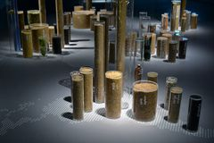 Design of groups of cylinders with crops dedicated to EXPO Milan 2015 exhibited in Milan Triennale Museum Stock Image
