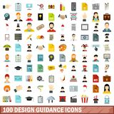 100 design guidance icons set, flat style. 100 design guidance icons set in flat style for any design vector illustration Royalty Free Illustration
