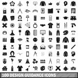 100 design guidance icons set, simple style. 100 design guidance icons set in simple style for any design vector illustration Stock Illustration