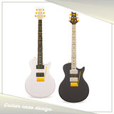 Design Guitar Case. Design of the guitar body. Dark and light on a white background. It is important to use as a template for presentation of images on the Stock Image