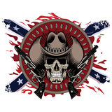 Design Gunfighter. Skull in cowboy hat, two crossed gun and bullets, on the backdrop of the American Confederate flag Royalty Free Stock Image